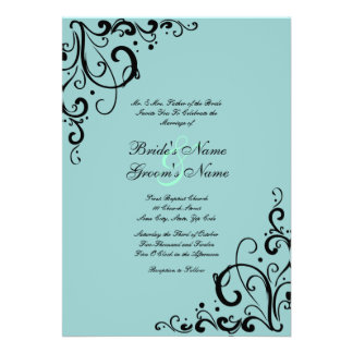 Blue and Black Flourish Wedding Invitation