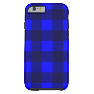 Blue and Black Gingham Plaid Design Tough iPhone 6 Case