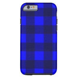 Blue and Black Gingham Plaid Design Tough iPhone 6 Case