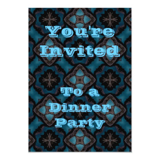 Blue and black Gothic medieval fantasy 5x7 Paper Invitation Card