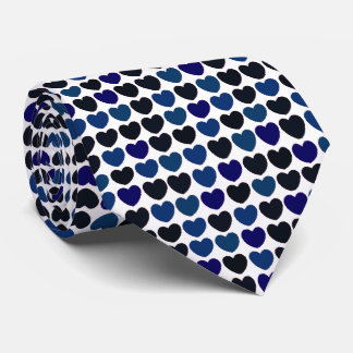 Blue and black heart pattern tie