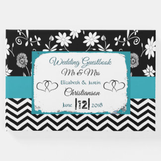 Blue and Black Hearts Wedding Book
