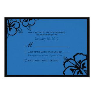 Blue and Black Hibiscus Flower Custom RSVP Invitation