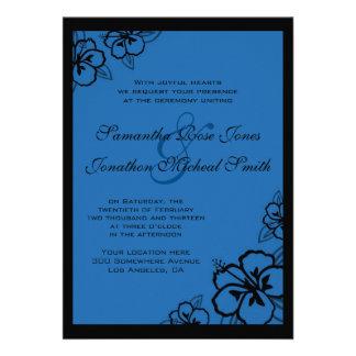 Blue and Black Hibiscus Flowers Custom Wedding Invitations