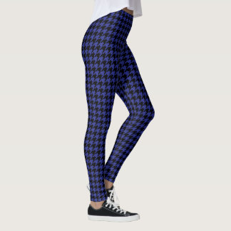Blue And Black Houndstooth Leggings