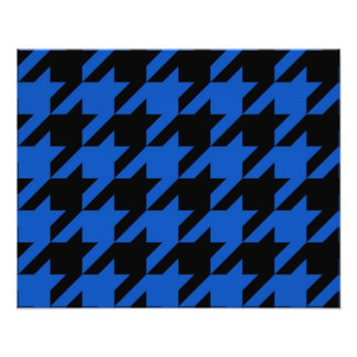 Blue and Black Houndstooth Patterned Photographic Print