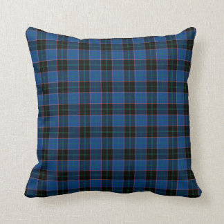 Blue and Black Hume Clan Scottish Plaid Throw Pillow