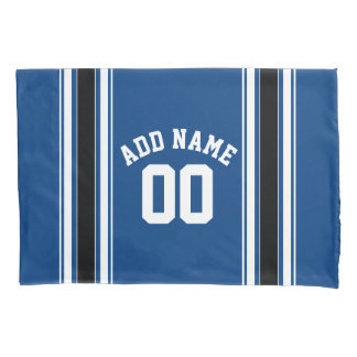 Blue and Black Jersey Stripes Custom Name Number Pillowcase