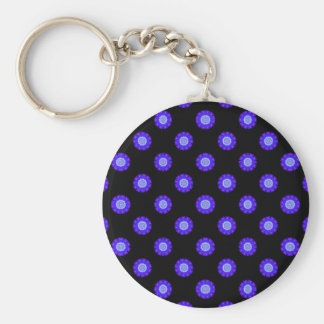 blue and black Kaleidoscope pattern Keychains
