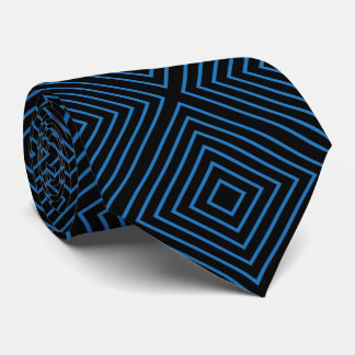 Blue and Black Line Abstract Tie