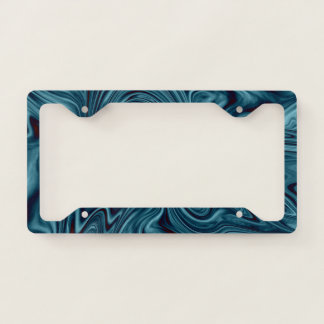 Blue and black ocean swirl licence plate frame