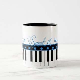 Blue and Black Piano Theme Sweet 16 Coffee Mug