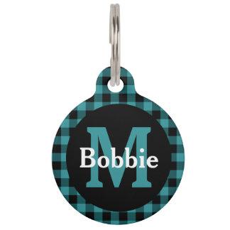 Blue and Black Plaid Monogram and Name Pet Name Tag
