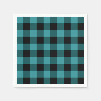 Blue and Black Plaid Paper Napkin