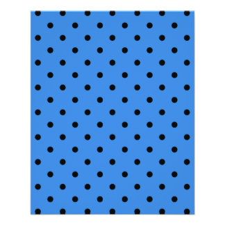 Blue and Black Polka Dot Pattern. Personalized Flyer