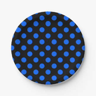 Blue and black polka dots 7 inch paper plate