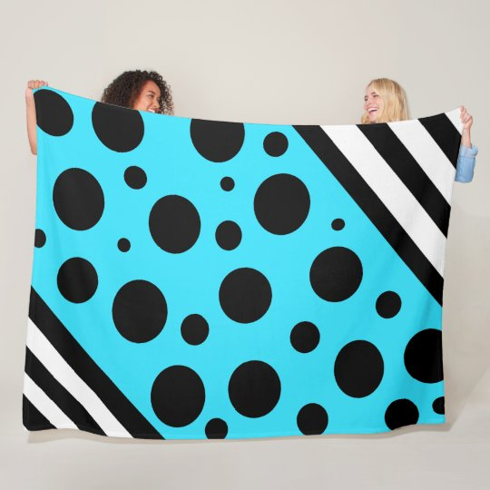 Blue and Black Polka Dots and Stripes Blanket