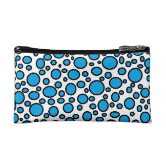 Blue and Black Polka Dots Cosmetic Bag