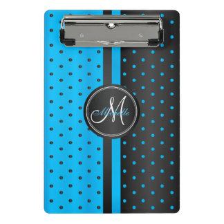 Blue and Black Polka Dots - Monogram Mini Clipboard