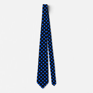 Blue and black polka dots tie
