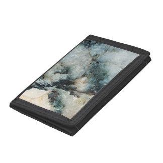 Blue and Black Quartz Mineral Texture Tri-fold Wallets
