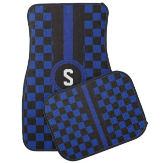 Blue and Black Racing Stripe | Monogram Car Mat