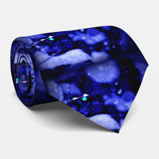 Blue and black snow in trees tie