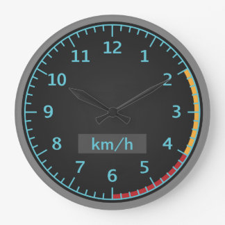 Blue and Black Speedometer Large Clock