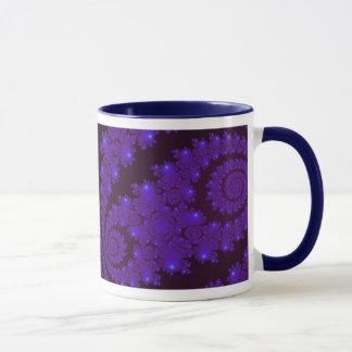 Blue and Black Spiral Fractal Mug