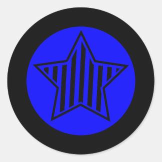 Blue and Black Star Round Sticker