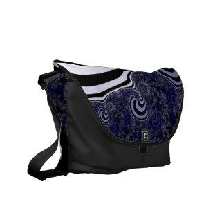 Blue and black striped  fractal. commuter bag