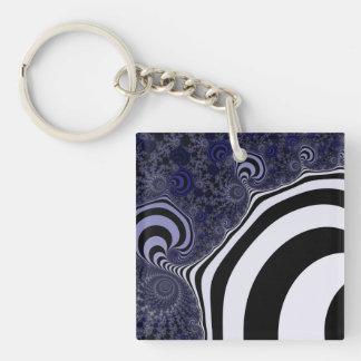 Blue and black striped  fractal. key ring