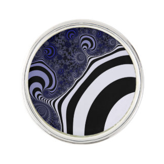 Blue and black striped  fractal. lapel pin
