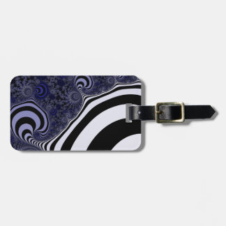 Blue and black striped  fractal. luggage tag
