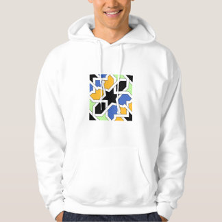 Blue and black tile 02 of geometry morisca in hoodie