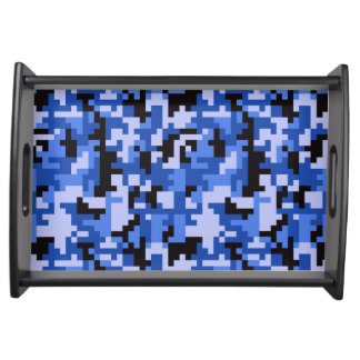 Blue and Black Water Pixel Camo pattern Serving Tray