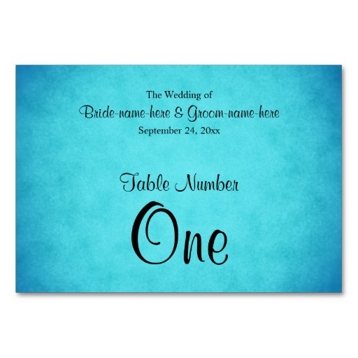 Blue and Black Wedding Table Number Table Cards
