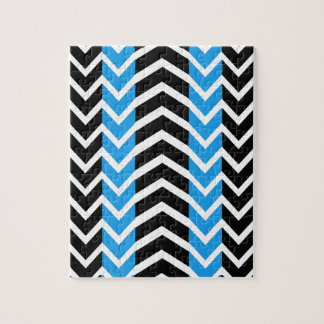 Blue and Black Whale Chevron Jigsaw Puzzle