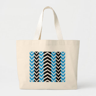 Blue and Black Whale Chevron Large Tote Bag