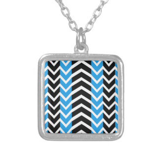 Blue and Black Whale Chevron Silver Plated Necklace