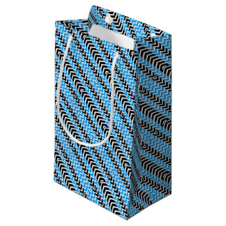 Blue and Black Whale Chevron Small Gift Bag
