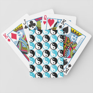 Blue and black yin yang pattern bicycle playing cards