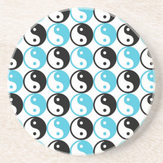 Blue and black yin yang pattern coaster