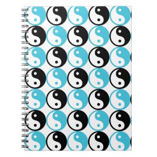Blue and black yin yang pattern notebooks