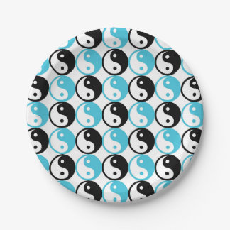 Blue and black yin yang pattern paper plate