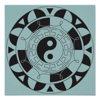Blue And Black Yin Yang Symbol Poster