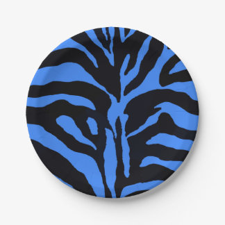 Blue and black zebra background modern 7 inch paper plate