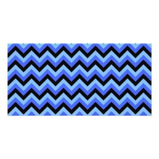 Blue and Black Zig zag Stripes. Photo Greeting Card