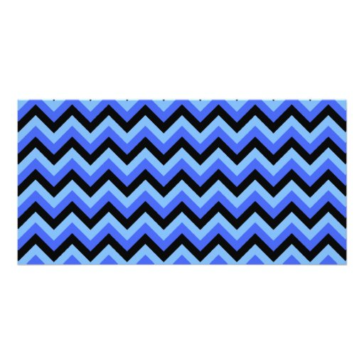 Blue and Black Zig zag Stripes. Personalized Photo Card