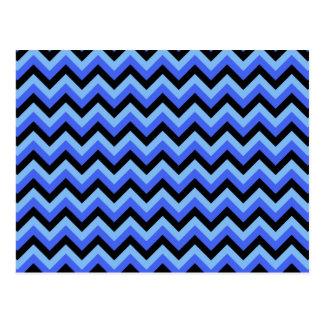 Blue and Black Zig zag Stripes. Postcard